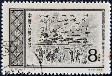 CHINA - CIRCA 1956: A stamp printed in China dedicated to Agriculture and hunting, circa 1956  Stock Photo - 12531845