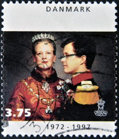 DENMARK - CIRCA 1997: A stamp printed in Denmark shows Queen Margrethe II, circa 1997