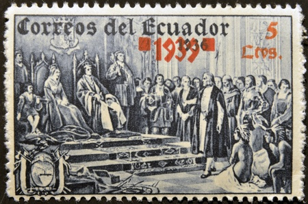 ECUADOR - CIRCA 1936: A stamp printed inEcuador shows Christopher Columbus at the court of the Catholic Kings, circa 1936