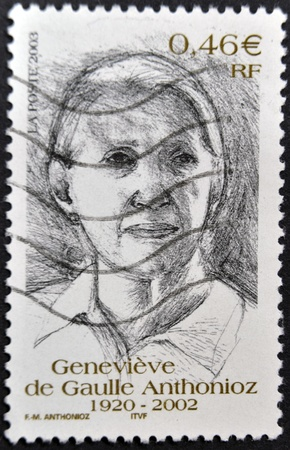 deported: FRANCE - CIRCA 2002: A stamp printed in France shows Genevieve de Gaulle Anthonioz, circa 2002