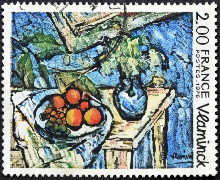FRANCE - CIRCA 1976: A stamp printed in France shows the play. Still Life painted by Maurice De Vlaminck, circa 1976