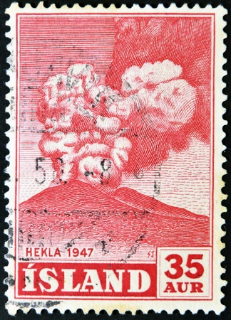ICELAND - CIRCA 1947: A stamp printed in Iceland shows Hekla, circa 1947