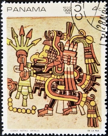PANAMA - CIRCA 1968: A stamp printed in Panama shows image from the Codex Nuttall, circa 1968
