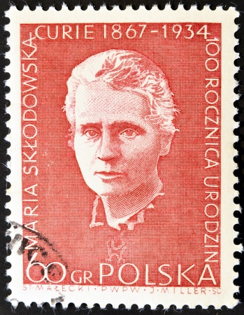 POLAND - CIRCA 1984: A stamp printed in Poland shows Marie Sklodowska Curie, circa 1984.
