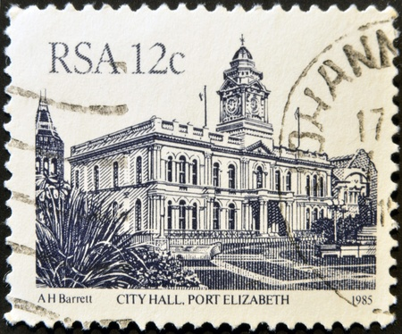 SOUTH AFRICA - CIRCA 1985: A  stamp printed in the Republic of South Africa shows the City Hall, port elizabeth, circa 1985