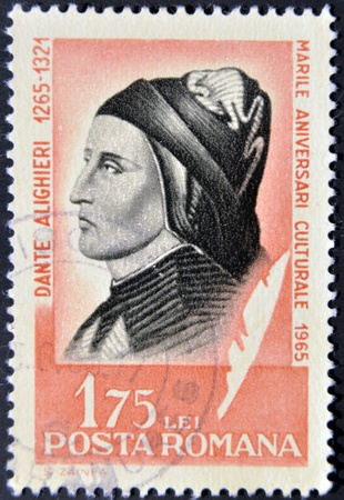 ROMANIA - CIRCA 1965: stamp printed in Romania, show Dante Alighieri, circa 1965.  Stock Photo - 12531923