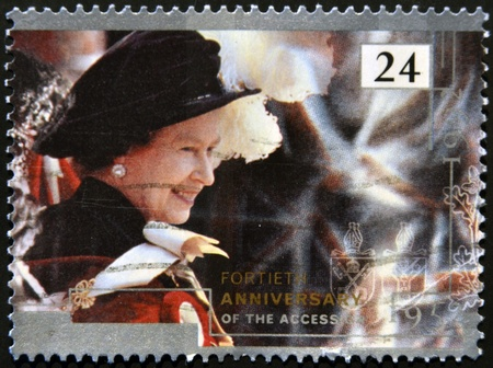 accession: UNITED KINGDOM - CIRCA 1992: A stamp printed in England, is dedicated to the 40th anniversary of accession, shows Queen Elizabeth II, circa 1992