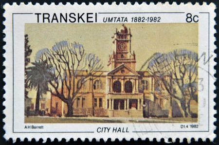 REPUBLIC OF SOUTH AFRICA- CIRCA 1982: A stamp printed in Transkei shows city hall, circa 1982