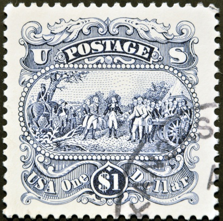 united states postal service: UNITED STATES OF AMERICA - CIRCA 1971: A stamp printed in USA shows one dollar, circa 1971  Editorial