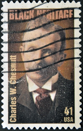 essayist: UNITED STATES OF AMERICA - CIRCA 2007: A stamp printed in USA shows Charles W. Chesnutt, black heritage, circa 2007 Editorial