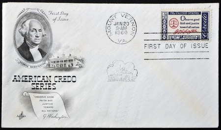 mount price: USA - CIRCA 1960 : A  postcard printed in the USA with text: Observe good faith and justice toward all nations, G.Washington - Credo, circa 1960