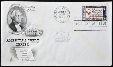 credo: USA - CIRCA 1960 : A  postcard printed in the USA with text: Observe good faith and justice toward all nations, G.Washington - Credo, circa 1960