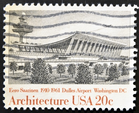 UNITED STATES - CIRCA 1982: A stamp printed in USA shows Dulles Airport, by Eero Saarinen, circa 1982