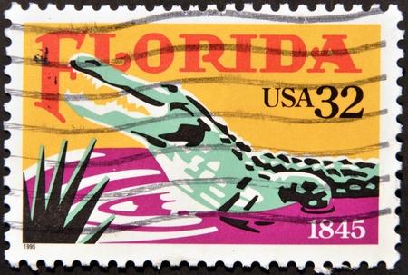 UNITED STATES OF AMERICA - CIRCA 1995: A stamp printed in USA dedicatred to Florida, shows a crocodile, circa 1995
