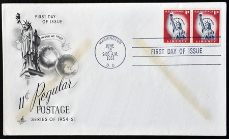 UNITED STATES OF AMERICA - CIRCA 1961: A postcard printed in USA shows Statue of Liberty, circa 1961  Stock Photo - 12531777