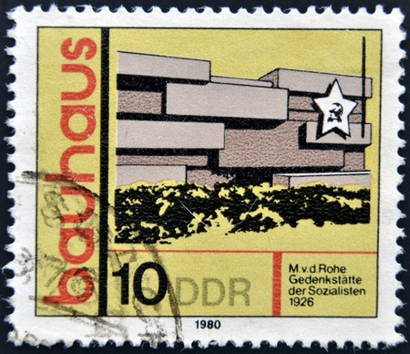 bauhaus: GERMANY -CIRCA 1980  A stamp printed in GDR  East Germany  shows building, honoring Bauhaus architectural school, circa 1980
