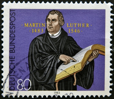 martin: GERMANY - CIRCA 1983: A stamp printed in Germany shows Martin Luther, circa 1983