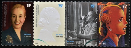 evita: ARGENTINA - CIRCA 2002  set of 4 stamps printed in Argentina with Evita Peron, circa 2002