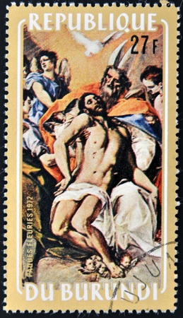 REPUBLIC OF BURUNDI - CIRCA 1972  A stamp printed in Burundi shows draw by artist El Greco - The Holy Trinity, circa 1972 Stock Photo - 12570896