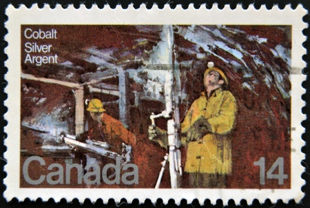 CANADA - CIRCA 1978  A stamp printed in Canada, shows Silver Mine Cobalt Lake, circa 1978  Stock Photo - 12570959