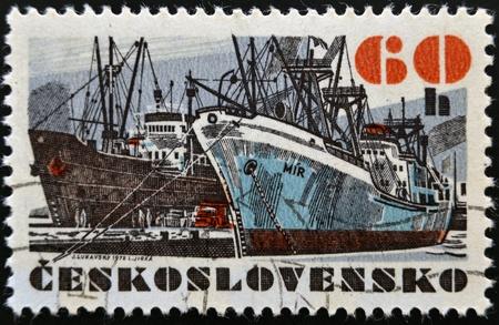 czechoslovakia: CZECHOSLOVAKIA - CIRCA 1972  A stamp printed in Czechoslovakia, shows research vessel  Mir , circa 1972