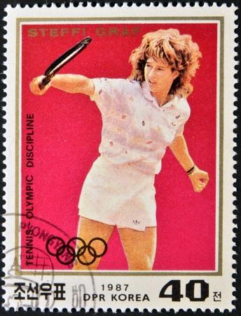 graf: NORTH KOREA - CIRCA 1987: A stamp printed in North Korea shows Steffi Graf, circa 1987 Editorial