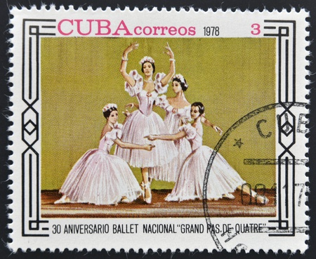 CUBA - CIRCA 1978: A stamp printed in Cuba shows 30th anniversary of the National Ballet grand pas de quatre, circa 1978