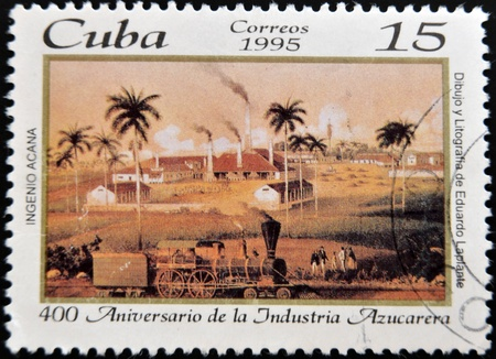 CUBA - CIRCA 1995: A stamp printed in cuba dedicated to 400 anniversary of the sugar industry, circa 1995