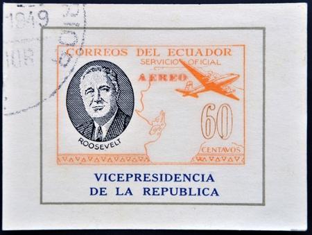roosevelt: ECUADOR - CIRCA 1949: A stamp printed in Ecuador shows plane and President Roosevelt, circa 1949