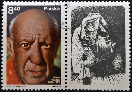 POLAND - CIRCA 1981  A stamp printed in Poland shows Pablo Picasso was a Spanish painter, draughtsman, and sculptor, circa 1981