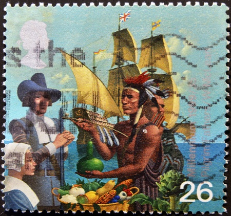 UNITED KINGDOM - CIRCA 1999  A stamp printed in Great Britain dedicated to Millennium, Pilgrim Fathers, circa 1999