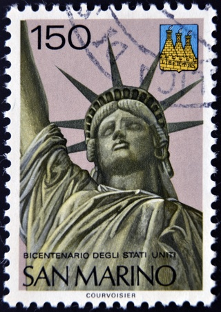 SAN MARINO - CIRCA 1976  A stamp printed in San Marino shows Statue of Liberty, circa 1976  Stock Photo - 12570899