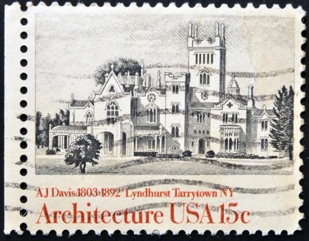 UNITED STATES OF AMERICA - CIRCA 1981: A stamp printed in USA shows Lyndhurst Tarrytown NY, A J Davis, circa 1981