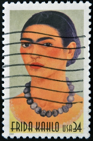 UNITED STATES OF AMERICA - CIRCA 2001 : stamp printed in USA show great Mexican painter Frida Kahlo, circa 2001