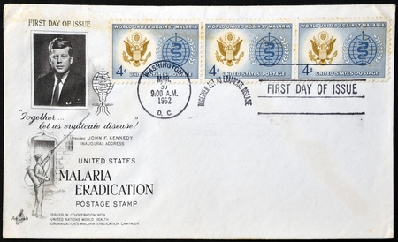 UNITED STATES - CIRCA 1962: A postcard printed in the USA shows Great Seal of U.S. and World Health Organization (WHO) Symbol, Malaria Eradication Issue, circa 1962  Stock Photo - 12570908
