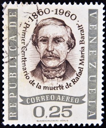 VENEZUELA - CIRCA 1960: A stamp printed in Venezuela shows Rafael Maria Baralt, circa 1960