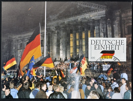 GERMANY - CIRCA 1990  A postcard printed in Germany dedicated to German Reunification, circa 1990  Stock Photo - 12971593