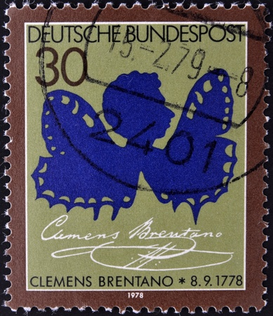 bundespost: GERMANY- CIRCA 1993  stamp printed in Germany, shows Clemens Brentano, circa 1993