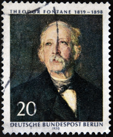 GERMANY - CIRCA 1970  A stamp printed in Germany shows Theodore Fontane, circa 1970