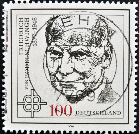 theologian: GERMANY - CIRCA 1996  a stamp printed in the Germany shows Friedrich von Bodelschwingh, Protestant Theologian, circa 1996  Editorial