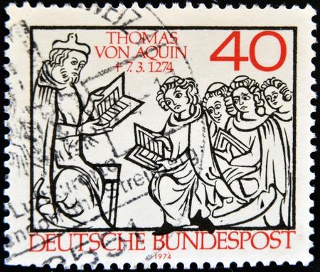 GERMANY - CIRCA 1974  A stamp printed in Germany shows Thomas Aquinas, circa 1974 Stock Photo - 12965810
