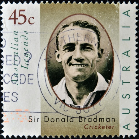 donald: AUSTRALIA - CIRCA 1997 A stamp printed in Australia dedicated to australian legends, shows Sir Donald Bradman, cricketer, circa 1997