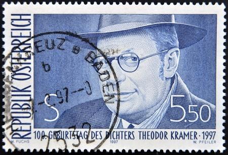 theodor: AUSTRIA - CIRCA 1997: A stamp printed in Austria shows Theodor Kramer, circa 1997 Editorial