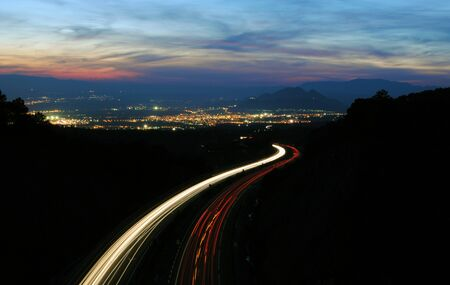 Trail of cars on the highway, Granada, Spain Stock Photo - 13026282
