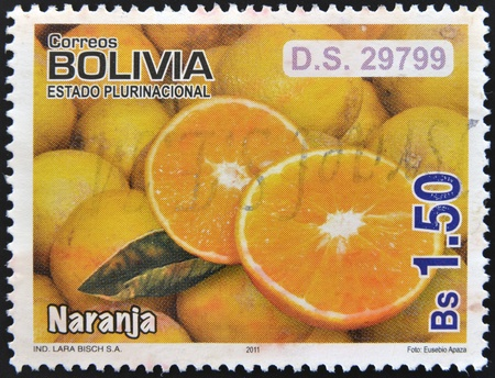 BOLIVIA - CIRCA 2011  A stamp printed in Bolivia shows oranges, circa 2011 Stock Photo - 13026448