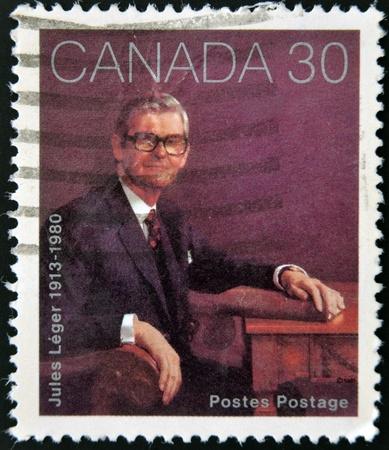 leger: CANADA - CIRCA 1982: stamp printed in Canada shows Jules Leger, circa 1982  Editorial