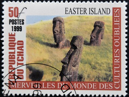 CHAD - CIRCA 1999: A stamp printed in Chad shows Easter island, circa 1999 Stock Photo - 12966899