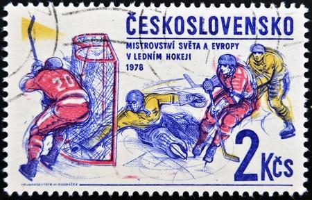 czechoslovakia: CZECHOSLOVAKIA - CIRCA 1978: A stamp printed in Czechoslovakia shows Ice hockey, circa 1978  Stock Photo