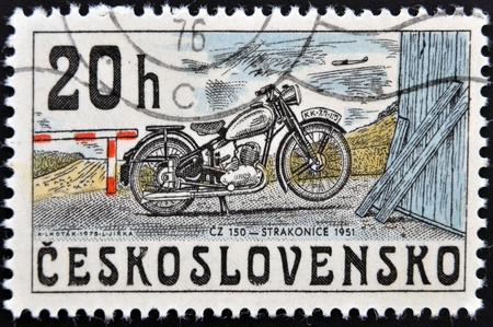 cz: CZECHOSLOVAKIA - CIRCA 1975: A stamp printed in Czechoslovakia shows vintage Motorcycle CZ 150, circa 1975.
