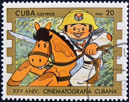 CUBA - CIRCA 1984  A stamp printed in Cuba shows Elpidio Valdes cartoon character, circa 1984 Stock Photo - 12966814
